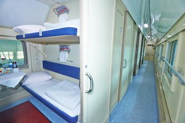 ตัวอย่างเตียงของรถไฟชั้นสอง