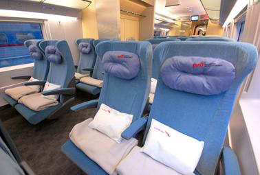 ที่นั่งชั้นประหยัด (Economy class) ของรถไฟความเร็วสูง
